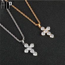 HIP Hop Iced Out Bling Stainless Steel Cross Necklaces & Pendants Gold Color For Men Jewelry Rope Chain Dropshipping(China)
