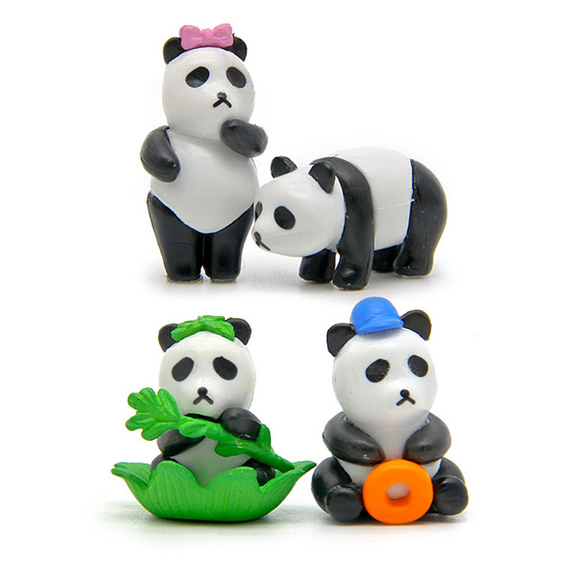 Kids Toys Panda-Dolls Action-Figure Micro-Decoration Creative Cute PVC Zakka 4pcs Small-Ornaments