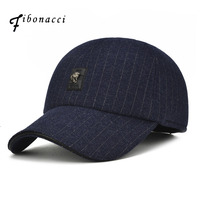 Fibonacci Winter Men S Baseball Cap Warm Striped Earflap Hat Metal Label Snap Back Dad Cap
