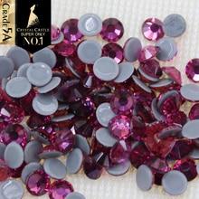 Crystal Castle AAAAA Luxury Crystal Hotfix Fuchsia Color Grey Glue Strass Flatback Rhinestones Hot Fix Crystals For Woman Dress