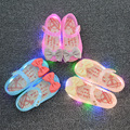 2016 Autumn Mini Melissa Sandals LED Flashing Girls Sandals Princess Jelly Shoes Baby Sandals Soft Bottom LED Shoes Melissa