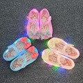 2016 otoño mini melissa sandalias led parpadea niñas sandalias de la princesa zapatos melissa jalea zapatos de bebé inferiores suaves led