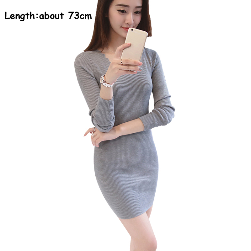 2018 Spring Autumn Women Sweater Dress V Neck Long Sleeve Mini Knitted Dress Sexy Bodycon Pencil Dress