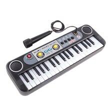 Игрушечный музыкальный инструмент с микрофоном обучающий для детей начинающих подарки мини 37 клавиш клавиатура electone