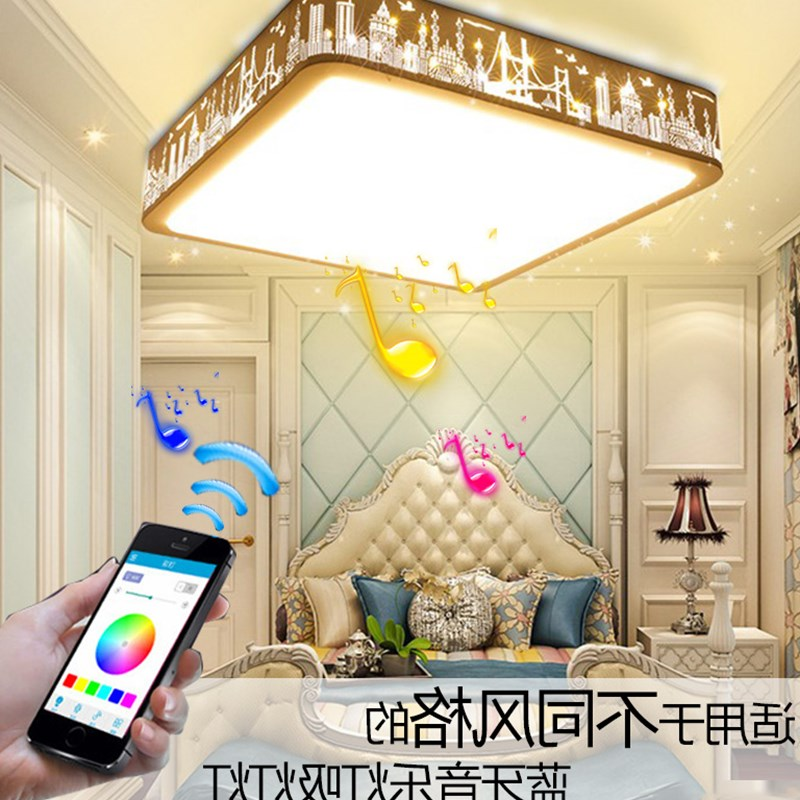 Modern Bluetooth Speaker Ceiling Light Remote Control RGB LED Music Lamp Dimmable Living Room Lighting Fixture Bedroom SmartModern Bluetooth Speaker Ceiling Light Remote Control RGB LED Music Lamp Dimmable Living Room Lighting Fixture Bedroom Smart