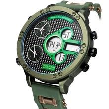 6.11 Mens New Fashion Large Size Multifunction Watch Multiple Time Zone Luminous Waterproof LED Digital Watch Men Sport Watch все цены