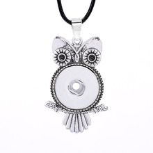Fashion Interchangeable Owl Crystal Ginger Necklace 038 Fit 18mm Snap Button Pendant Charm Jewelry For Women Gift