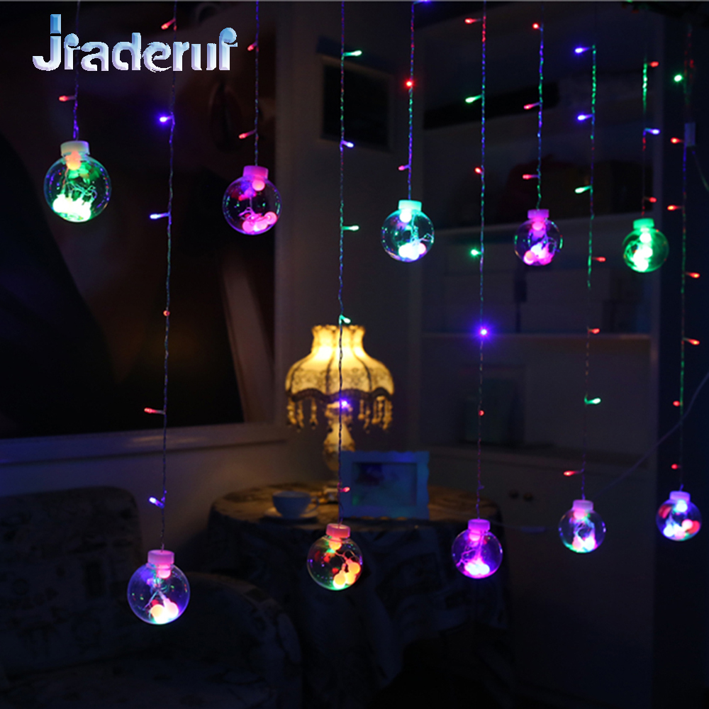 Jiaderui LED Christmas String Fairy Curtain Lights 2m 60Led 3m 120Led New Year Party Decor Lights Transparent Wishing Balls 220V