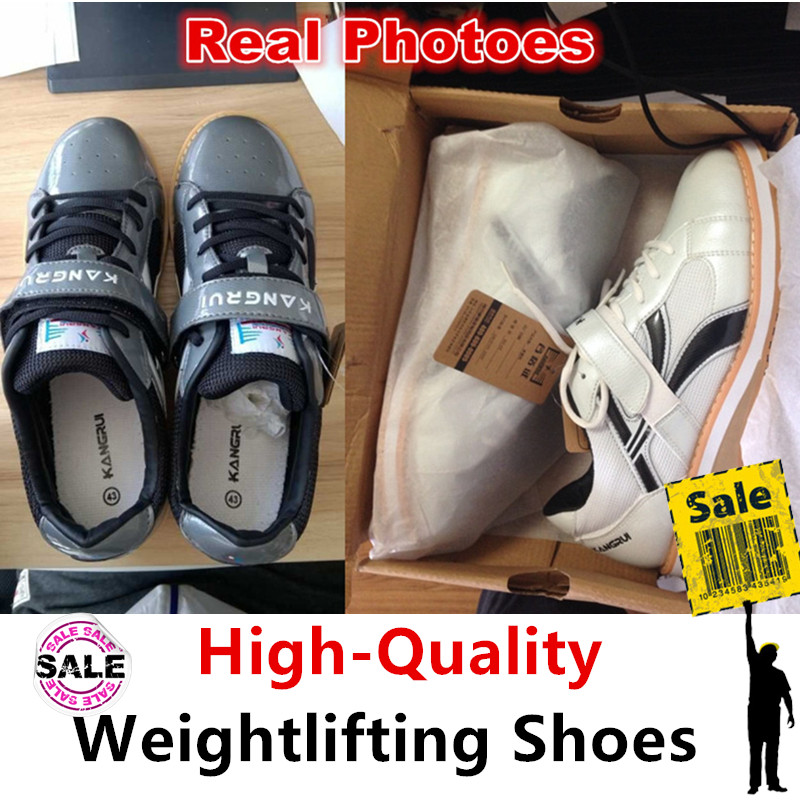 ФОТО High quality Professional Weightlifting Shoes Squat Competition Training Leather anti-Slip Weight lifting Shoe fitness sneaker