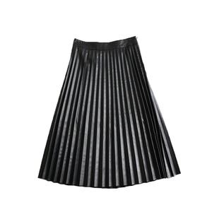 Image 4 - RYS7360 kadınlar 2020 zarif moda tam uzunluk hakiki deri 75cm uzun pilili etek bayan Nappa sokak siyah Jupe faldas Mujer