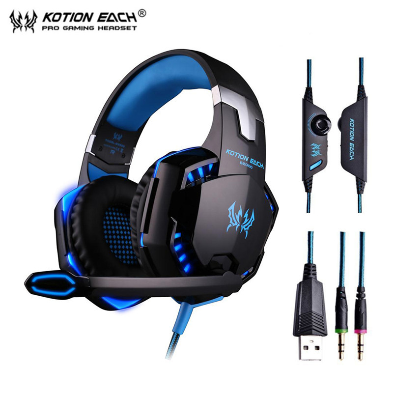 Deep Bass Gaming Headset G2000 Gamer Headphone Wired Earphone with Microphone LED Light Noise Canceling for Computer PC Gamer hoco w7 wired gaming headphones gamer headset for computer game with microphone earphones soft ear pad noise canceling