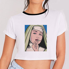 22aaed5b6c1 Summer 2019 Fashion 90s Women Vintage Aesthetic Crop Top Tumblr Ulzzang  Vogue White Shirts Boho Graphic