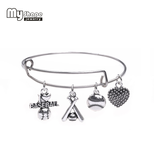 My Shape Sporty Style I Love Baseball Charm Bracelet Stainless Steel Expandable Wire Bangles With Diy