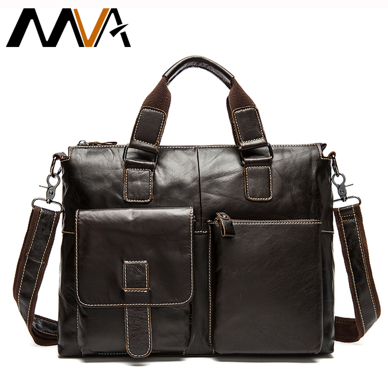 MVA Leather Laptop Bag 14inch Genuine Leather Shoulder Bags Business Briefcase Handbags Totes Work Document Bags Men Briefcases mva genuine leather men bag business briefcase messenger handbags men crossbody bags men s travel laptop bag shoulder tote bags