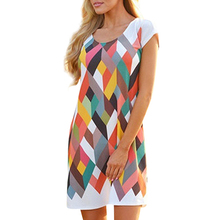 Women's Fashion Loose Casual Short Sleeve Printing Dress Party Cocktail Midi Dress
