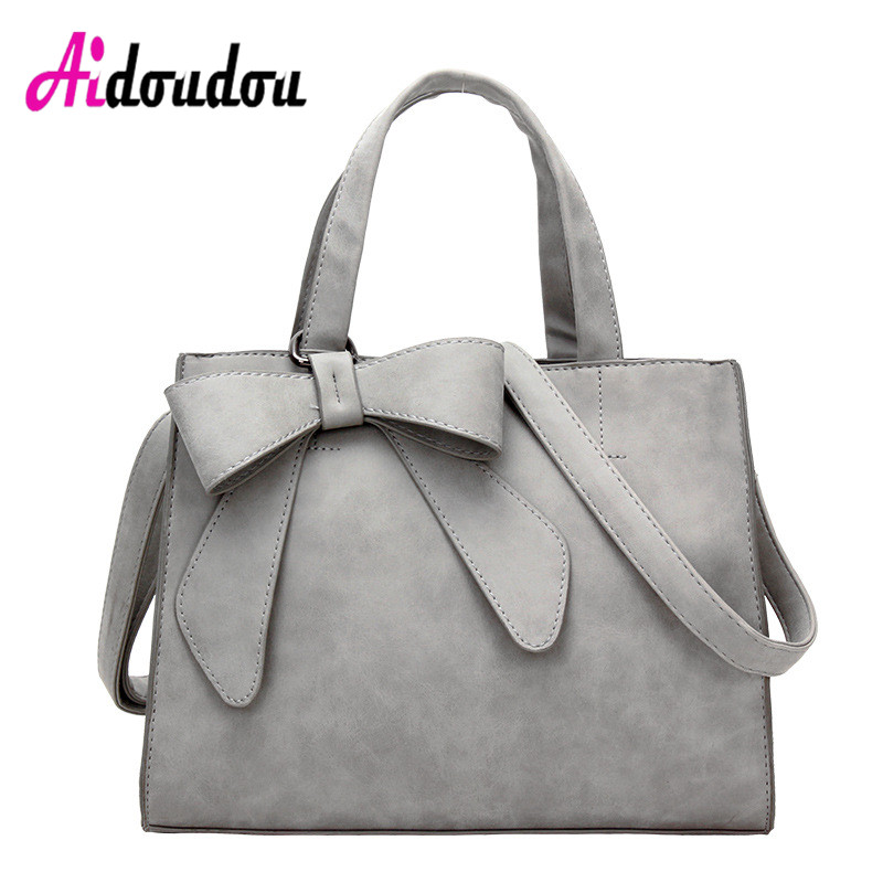 Elegant Bow Bags For women 2018 Large Capacity PU Leather <font><b>Handbag</b></font> <font><b>Gray</b></font> Pink Shoulder Bags Casual Totes bolsa feminina de marca