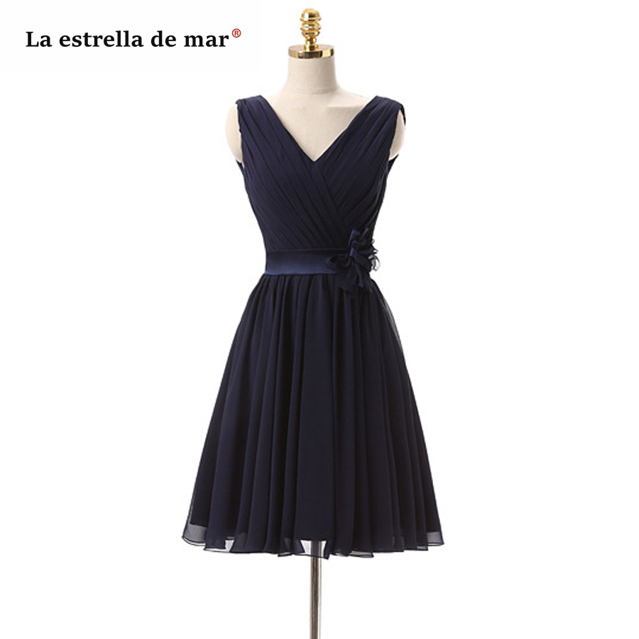 Vestido Madrinha 2019 Chiffon Sexy V Neck A Line Navy Blue Bridesmaid Dresses Short Real Photo  Wedding Party Dress Sale