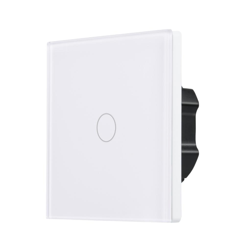EU Plug WiFi Smart 1 Gang Home Wall Light Switch White Crystal Screen Touch Panel APP Control Timer For Amazon Alexa AC 100-240V smart home eu touch switch wireless remote control wall touch switch 3 gang 1 way white crystal glass panel waterproof power