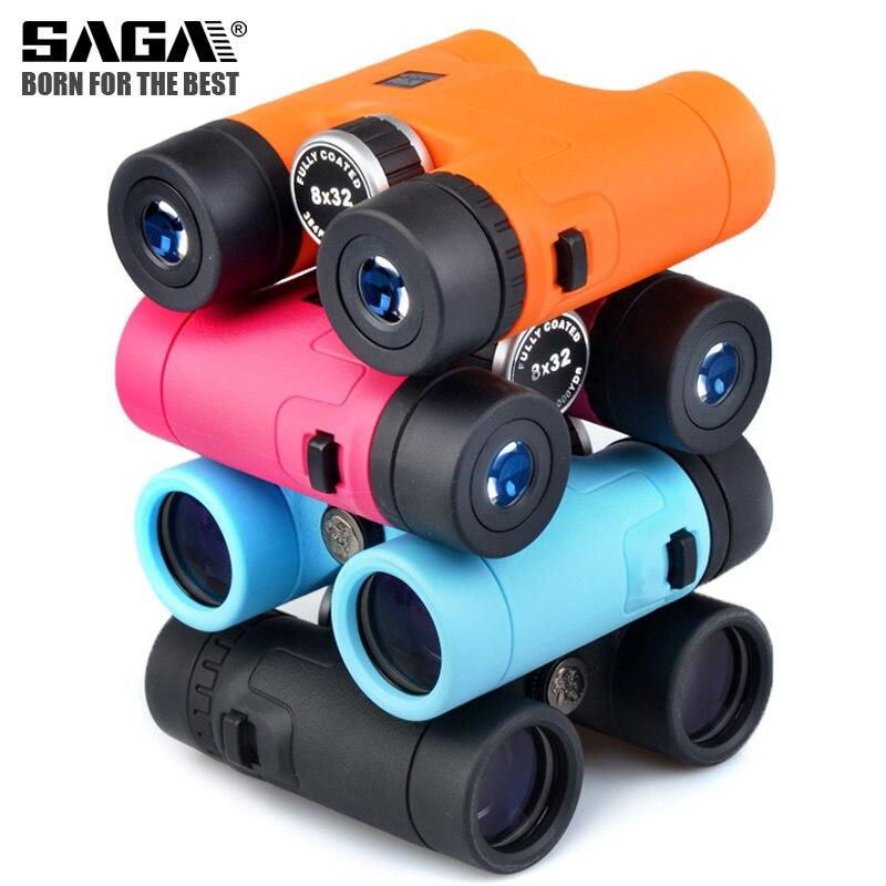 Saga binóculos 8x32 telescópio para adultos criança binocular jogos ao ar livre brinquedos concerto compacto