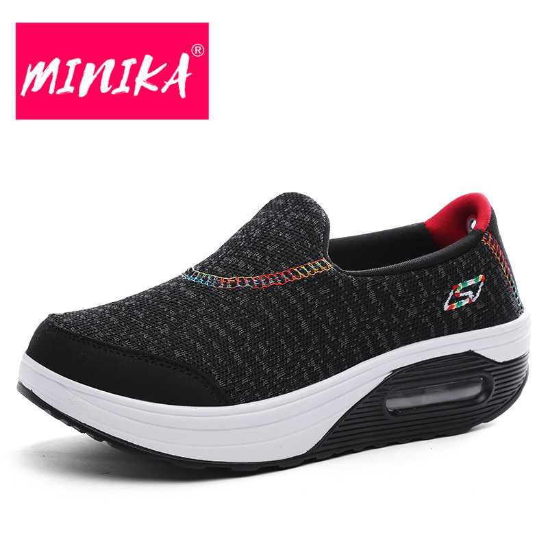 MINIKA New Fashion Design Women Loafers Mesh Suface Slip on Flat Shoes Women Comfortable Air Cushion Durable Casual Shoes Women minika breathable mesh lace shoes women thick bottom shallow mouth women casual shoes slip on flat shoes women high quality