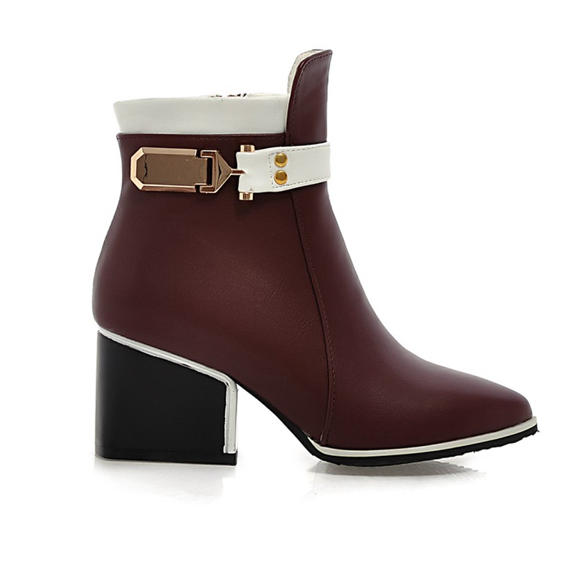 ENMAYER Top quality women fashion square heel pointed toe ankle boots lady buckle strap zipper color block boots ZYL169 in Ankle Boots from Shoes
