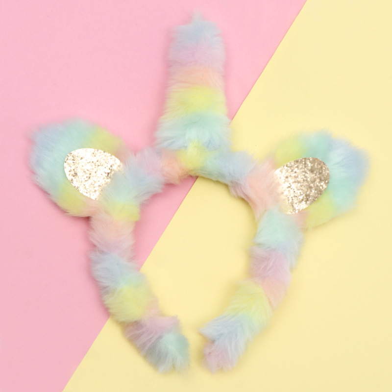 10pcs/lot ,10cm New Plush Unicorn Headband Colorful Super Soft Fluffy Headband Children Cat Ears Fur Headwear Accessories