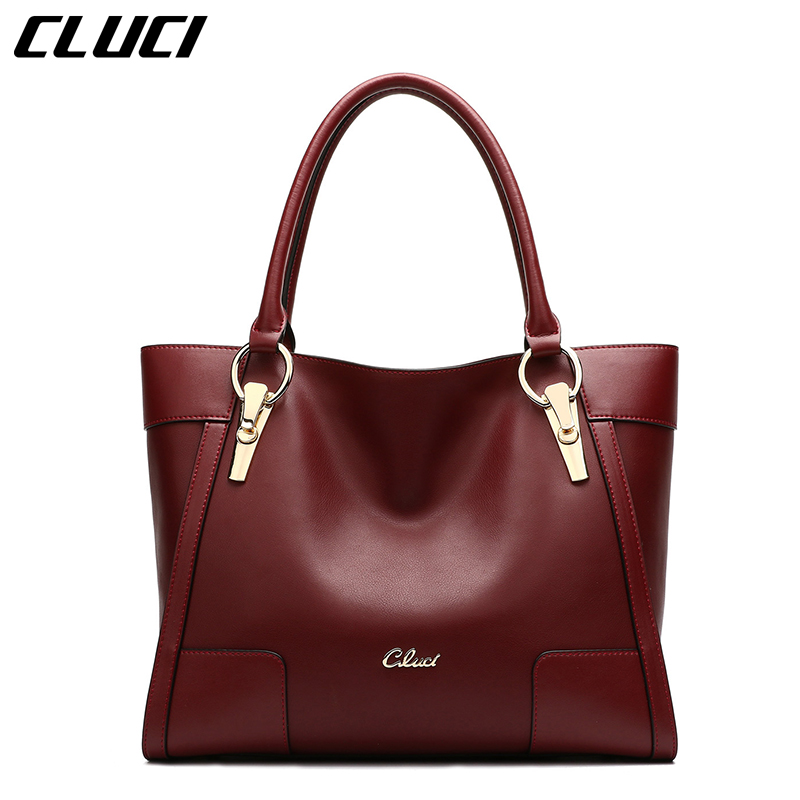 CLUCI Women Luxury Handbags Split-Leather Fashion Black/Red Zipper Top-handle Bags Large Handbags Totes High Quality Hand Bag cluci women genuine leather luxury handbags vintage zipper black red gold purple blue shoulder bag top handle bags neverfull