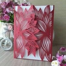 100 шт. серебристый лазерная резка довольно Дизайн цветочным узором свадебное Приглашения карты элегантный поздравительная открытка на день рождения Наборы украшения
