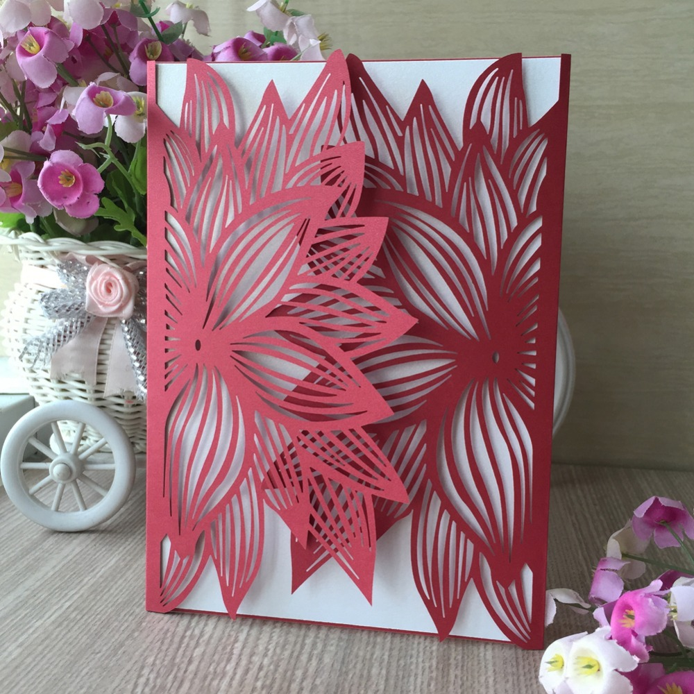 100pcs Silver Laser Cut Pretty Design Flower Pattern Wedding