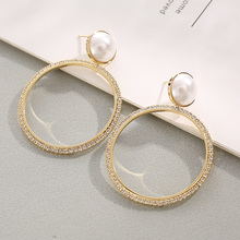 Vintage Fashionable New Brand Rhinestone Crystal Drop Earrings For Women Gift Round Pendant Statement Pearl Bijoux