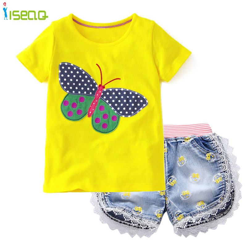 Baby Girls short clothing sets t shirt Shorts Jeans Lace Demin Short Pants summer children suit Bow Printed Kids Clothes