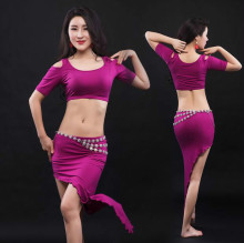 Sexy Women Soft modal Belly Dance Costume Oriental Dancing Training Clothing Top+Skirt Suit for Womens belly dance wear DW025