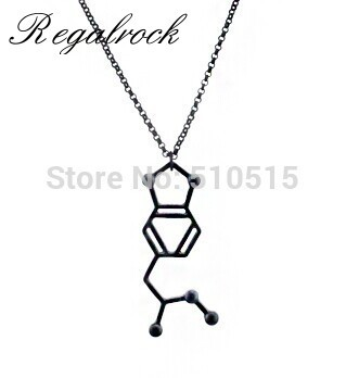 Regalrock MDMA 4-methylenedioxymethamphetamine Black Serotonin MDA Molecule Pendant Necklace