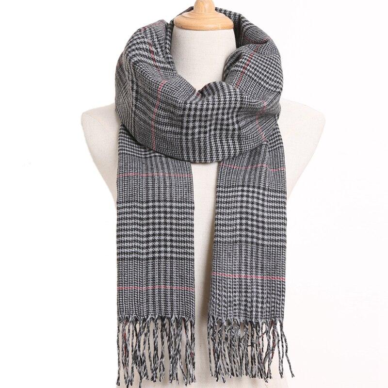 [VIANOSI] клетчатый зимний шарф женский тёплый платок одноцветные шарфы модные шарфы на каждый день кашемировые шарфы - Цвет: 38