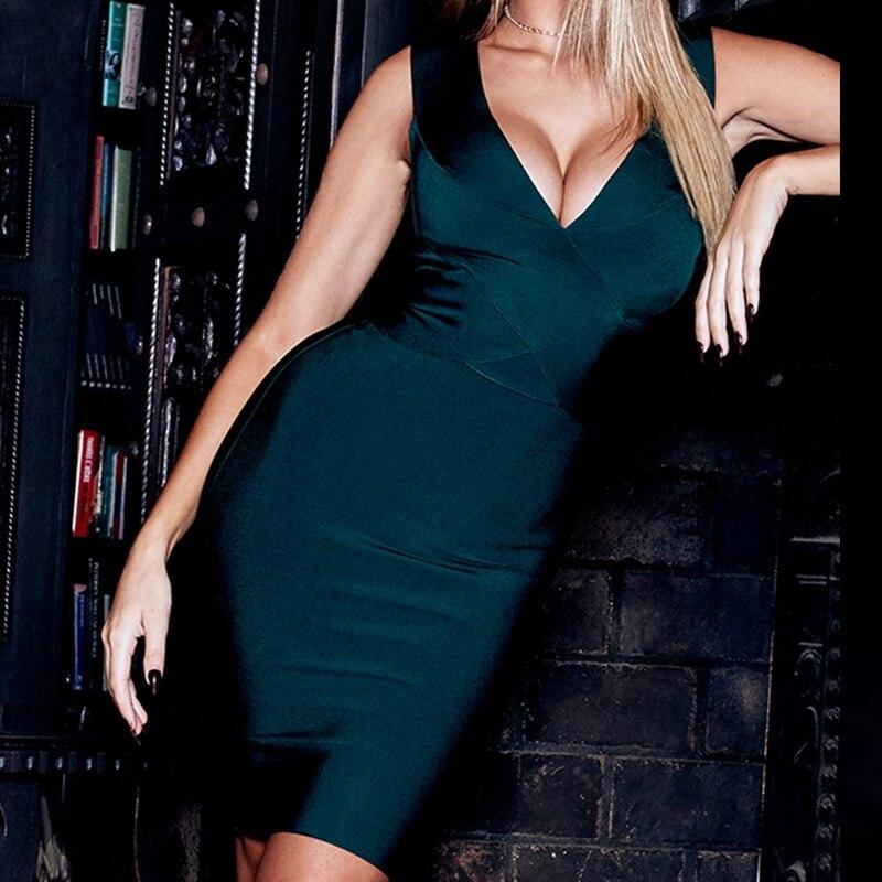 Cerf Lady 2019 moulante Bandage robe Sexy partie col en V Vestido Bandage robe vert Bandage robe femmes automne Clubwear