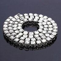 Hip Hop Złoty Bling 1 Wiersz Duże 8mm Rhinestone Łańcuchy Chokers Naszyjniki Kamień Kamień Biżuteria Kryształ Kobiety Mężczyźni