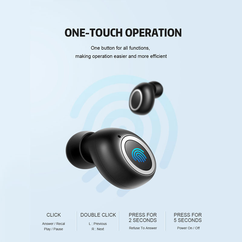 TWS 3D Stereo Bass Bluetooth Earphone 5 0 Touch Hands Free Earbuds Auto Pairing Wireless Earphones HD Mic Mini Headphones in Bluetooth Earphones Headphones from Consumer Electronics