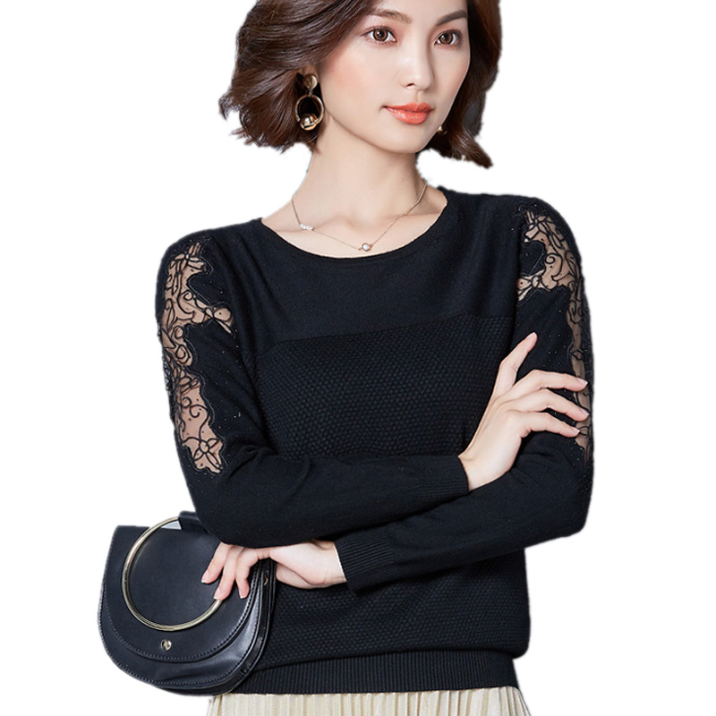 M-XXL Autumn Korean Elegant Christmas Sweater Rhinestone Lace Tops Women Knitted Sweaters And Pullovers 2017 Black Grey Red