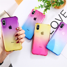 Ottwn Transparent Soft TPU Phone Case For iPhone 7 8 6s Plus Clear  Gradient Colorful Cases XS Max XR Shockproof Back Full Cover