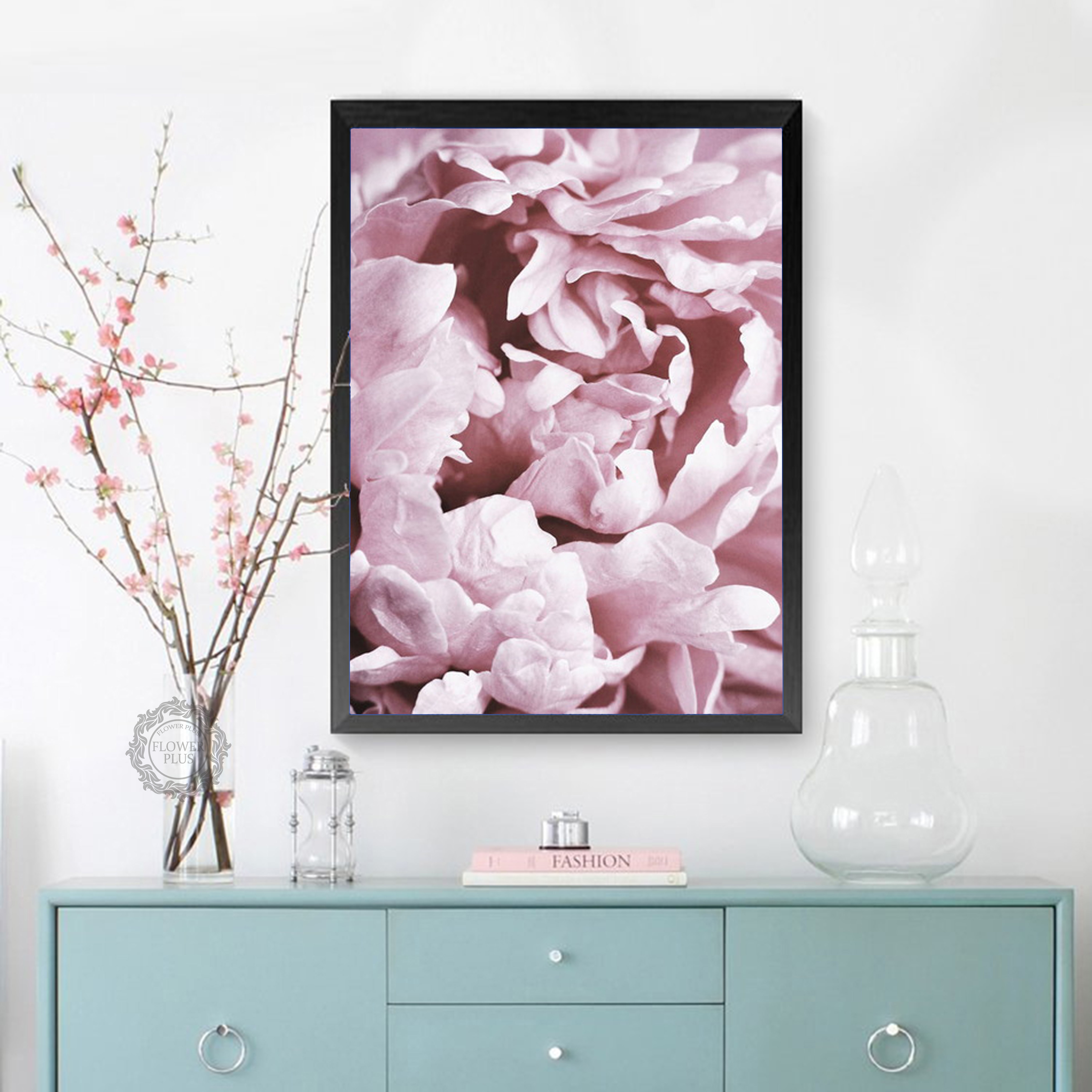 Nordic Poster Sweet Pink Peony Rose Wall Art Canvas Painting Posters And Prints Wall Pictures For Living Room Bedroom Wall Decor in Painting Calligraphy from Home Garden