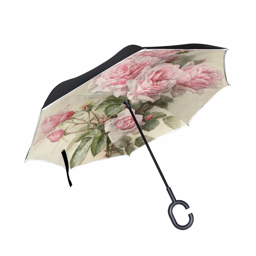 Потертый Цветочные автомобиля обратный зонтик двойной Слои Для женщин дождь Зонты C-ручка перевернутый ветрозащитный Компактный самостоятельный оптовая продажа