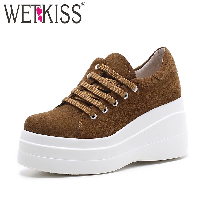 WETKISS Fashion Casual Flats Women Round Toe Wedges Cow Suede Shoelaces Footwear 2018 New Spring Platform Sneaker Shoes Ladies tesilixiezi new spring summer fashion candy color bling flats platform shoes wegde breathable women casual shoes footwear