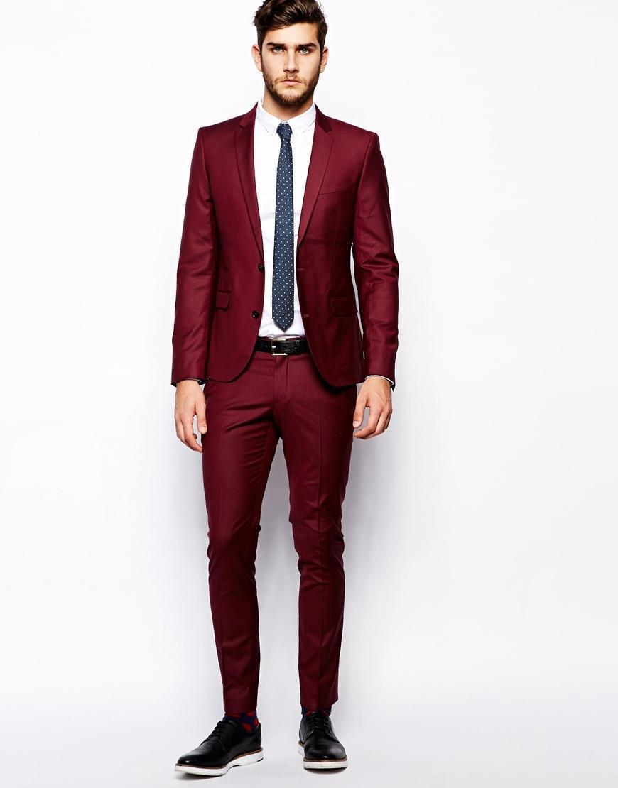 Fashion Two Button Dark Red Groom Tuxedos Groomsmen Men Wedding Prom ...