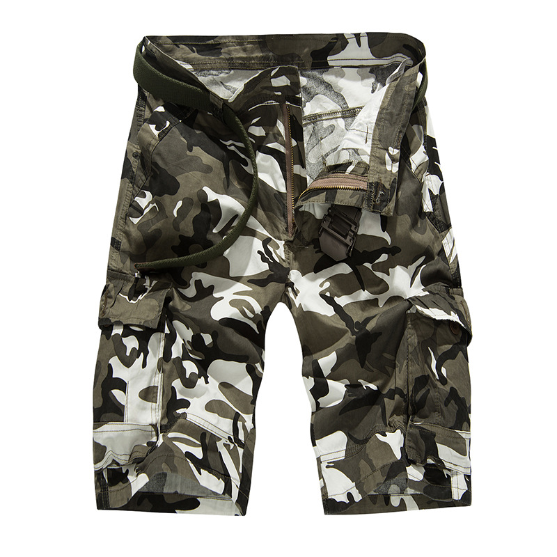 New Spring Summer Men's Cargo Pants Grey Color Multi-Pocket Military Camouflage Overalls Loose Knee-Length Men's Casual Pants