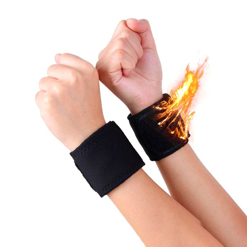 1 Pair Black Adjustable Self-heating Warm Wrist Band Tourmaline Magnet Wrist Support Straps Wraps Sports Wristband