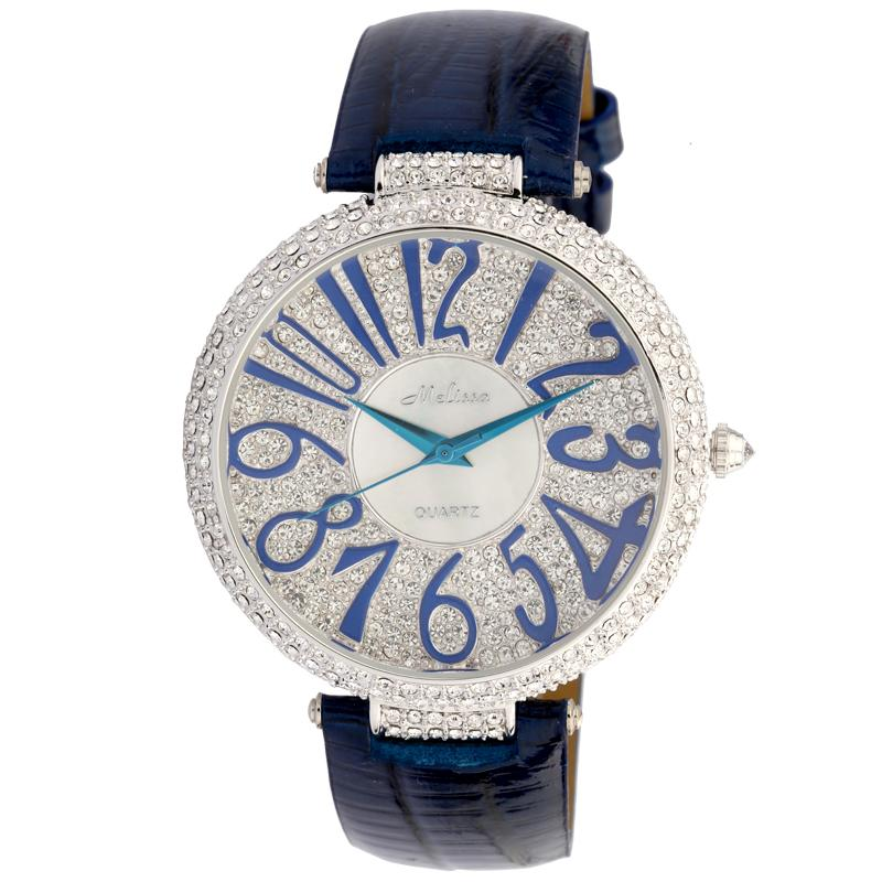 หรูหราคริสตัลผู้หญิงขนาดใหญ่นาฬิกา MELISSA ญี่ปุ่นควอตซ์นาฬิกาข้อมือหนังแท้เคลือบขนาดใหญ่ Analog Relojes-ใน นาฬิกาข้อมือสตรี จาก นาฬิกาข้อมือ บน AliExpress - 11.11_สิบเอ็ด สิบเอ็ดวันคนโสด 1