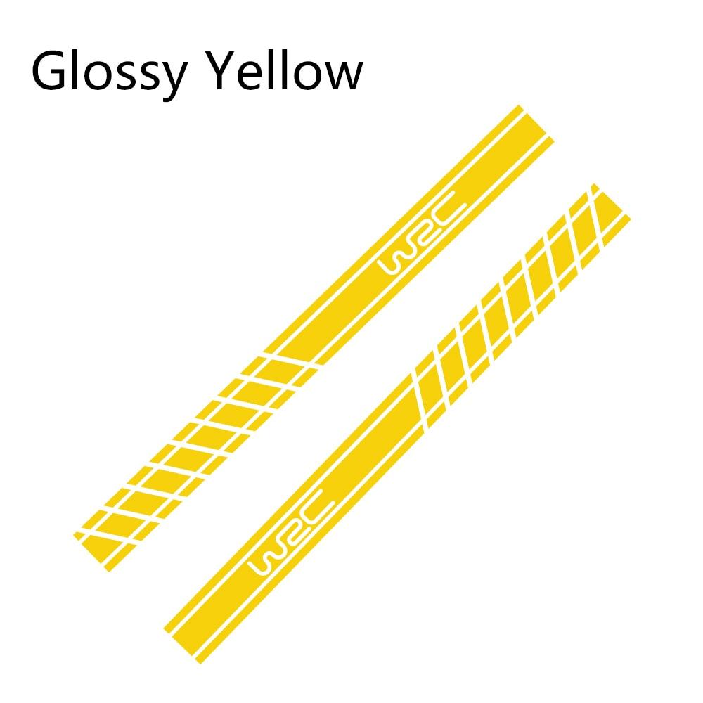 2 шт., 220 см x 16 см, длинные полосатые наклейки для автомобиля, автомобильные боковые юбки, наклейки для самостоятельного изготовления, наклейки для гоночных спортивных стикеров, аксессуары для тюнинга автомобиля - Название цвета: Glossy Yellow