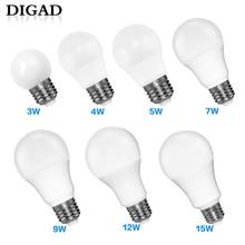 DIGAD LED E14 LED Lamp E27 LED Bulb AC 220V 230V 240V 18W 15W 12W 9W 6W 3W Lampada LED Spotlight Table Lamp Lamps Light