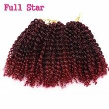 Полная Star 3 компл. 8 inch 90 г Афро Странный Вьющимися Волосами Крючком Косы Расширения Чешского Вьющиеся Крючком Волосы Marlybob синтетические Волосы