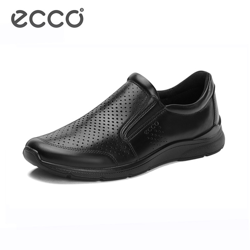 ECCOL Summer Breathable Men's Fashion Leather Loafers Shoes Non slip Casual Man Shoes Wear resistant Soft Business Shoes 39 44
